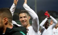 Luxembourg (Luxembourg), 17/11/2019.- Portugal's Cristiano Ronaldo celebrates after the UEFA Euro 2020 Qualifying round Group B match between Luxembourg and Portugal in Luxembourg, 17 November 2019. (Luxemburgo, Luxemburgo) EFE/EPA/JULIEN WARNAND