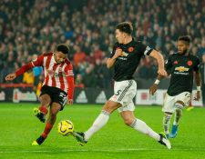 Mousset anota en el duelo entre Manchester United y Sheffield United. (Foto Prensa Libre: EFE)