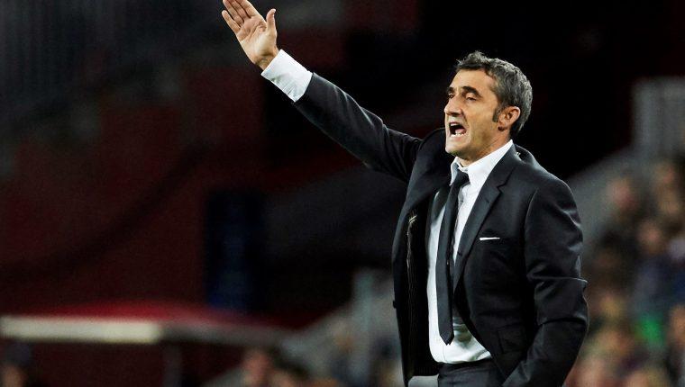 El entrenador Ernesto Valverde alabó el juego de Lionel Messi. (Foto Prensa Libre: EFE)