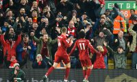 Liverpool (United Kingdom), 10/11/2019.- Mohamed Salah (R) of Liverpool celebrates with teammate Jordan Henderson (L) after scoring the 2-0 lead during the English Premier League soccer match between Liverpool FC and Manchester City in Liverpool, Britain, 10 November 2019. (Jordania, Reino Unido) EFE/EPA/PETER POWELL EDITORIAL USE ONLY. No use with unauthorized audio, video, data, fixture lists, club/league logos or 'live' services. Online in-match use limited to 120 images, no video emulation. No use in betting, games or single club/league/player publications