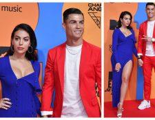 Cristiano Ronaldo y Georgina Rodríguez, en la alfombra roja de los premios. (Foto Prensa Libre: EFE)