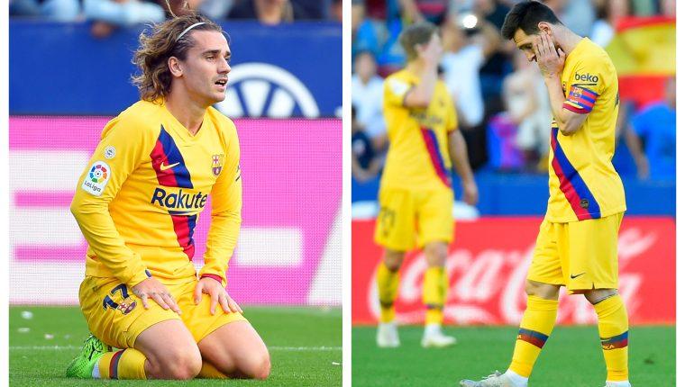 Antoine Griezmann y Lionel Messi no pudieron rescatar a su equipo el fin de semana. (Foto Prensa Libre: AFP)