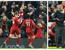Los jugadores del Liverpool celebran frente al City de Pep. (Foto Prensa Libre: EFE)