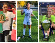 María Micheo, Ana Lucía Martínez y Marcela Anzueto, deportistas guatemaltecas. (Foto Prensa Libre: Hemeroteca PL)