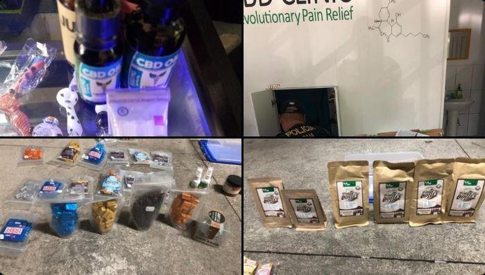 La PNC y el MP incautaron la mercadería encontrada en los comercios allanados. (Foto Prensa Libre: PNC)