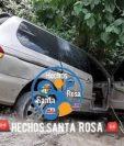 Camioneta localizada junto a los tres cadáveres en la ruta a Mataquescuintla. (Foto Prensa Libre: Hechos Santa Rosa).