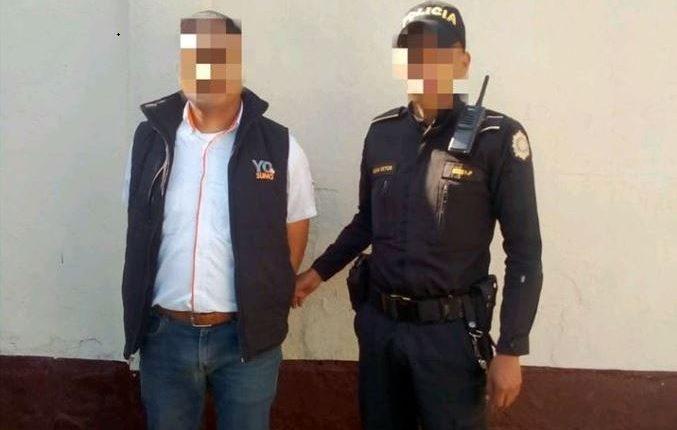 Sergio Rafael Vásquez Pérez, de 31 años, luego de ser arrestado. (Foto Prensa Libre: PNC)