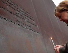 La canciller alemana Angela Merkel estuvo presente en el aniversario de la caída del Muro de Berlín. AFP