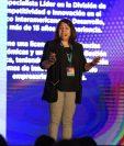 Claudia Suaznábar, especialista en innovación del BID participó durante el Guatemala Innovation Forum 2019 organizado por Pronacom. (Foto Prensa Libre: Cortesía)