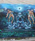 Colectivo Finito Arts y colegas ganó el cuarto concurso nacional de murales Tzamyac efectuado en Samayac Suchitepéquez. (Foto Prensa Libre: Marvin Tunchez)