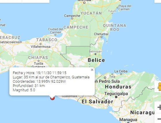 Nuevo sismo se registró este 30 de noviembre del 2019. (Foto,Prensa Libre: Conred).