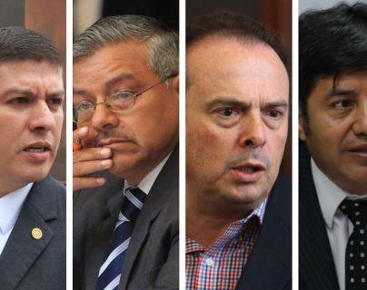 Los diputados Gustavo Medrano, Marco Antonio Orozco, Juan José Porras y Haroldo Quej podrán mantener su inmunidad. (Foto Prensa Libre)