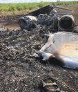 Estos son los restos de la avioneta que violó espacio aéreo guatemalteco y fue localizada en Petén. (Foto Prensa Libre: Ejército de Guatemala)