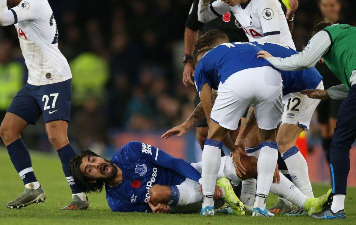 Terrible lesión del portugués Andre Gomes en el partido del Everton y Tottenham