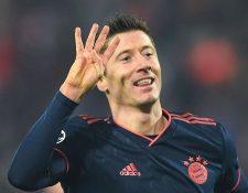 Robert Lewandowski anotó un un póker en la Champions League. (Foto Prensa Libre:  AFP)