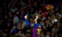 GRAF8678. BARCELONA, 27/11/2019.- El delantero argentino del FC Barcelona, Lionel Messi, tras marcar el segundo gol ante el Borussia Dortmund, durante el partido entre ambos equipos correspondiente al Grupo F de la fase de grupos de la Liga de Campeones, celebrado este miércoles en el Camp Nou de Barcelona. EFE/Enric Fontcuberta
