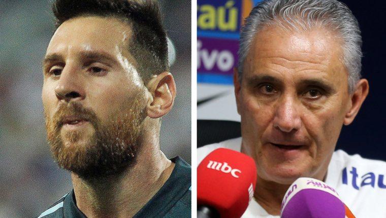 Tite no restó mérito a Argentina, pero insistió en que Messi debió ser amonestado. (Foto Prensa Libre: EFE y AFP)