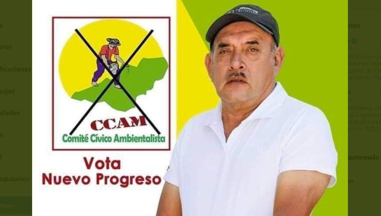 Salvador Castillo ganó las elecciones con el Comité Cívico Ambientalista. (Foto Prensa Libre: Cortesía)