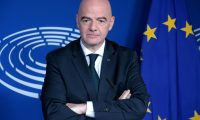 Brussels (Belgium), 11/12/2019.- FIFA President Gianni Infantino holds a joint press conference with European Parliament President Sassoli at the European Parliament in Brussels, Belgium, 11 December 2019. Sassoli is expected to raise the issue of racism following a letter sent by some 140 MEPs (Members of the European Parliament) to the European football association, UEFA, calling on the organization to tackle discrimination in European stadiums 'more vigorously'. (Bélgica, Bruselas) EFE/EPA/OLIVIER HOSLET