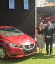 Representantes de Excel presentaron el nuevo Nissan Versa. Foto Prensa Libre: Norvin Mendoza