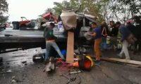 Accidente en el kilómetro 215 de la ruta al Atlántico. (Foto Prensa Libre: Provial).
