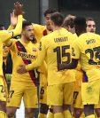 Los jugadores del Barcelona celebran el triunfo frente al Inter de Milán. (Foto Prensa Libre: AFP)
