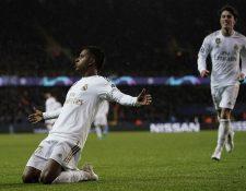 Rodrygo celebra el primer gol del Real Madrid frente a Brujas. (Foto Prensa Libre: AFP)