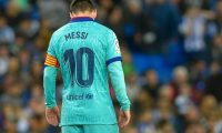 Barcelona's Argentine forward Lionel Messi reacts during the Spanish league football match between Real Sociedad and FC Barcelona at Anoeta stadium in San Sebastian on December 14, 2019. (Photo by ANDER GILLENEA / AFP)