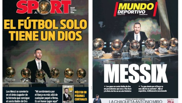 Messi acaparó las portadas en España. (Foto Prensa Libre: Twitter)