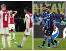 Los jugadores del Ajax e Inter de Milán muestran su tristeza. (Foto Prensa Libre: EFE)