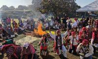 La ceremonia maya se llevó a cabo en el Parque Arqueológico Kaminajuyú , zona 7 capitalina. (Foto, Prensa Libre: María René Barrientos).