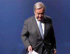 """El secretario general de la ONU, António Guterres, participa en el panel """"Competencias profesionales para el futuro más verde"""" en el marco de la cumbre del clima, en Madrid. (Foto Prensa Libre: EFE)"""