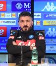 El entrenador italiano Genaro Gattuso durante su presentación con el Nápoli. (Foto Prensa Libre: twitter del Nápoli)