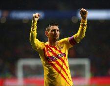 El delantero argentino del FC Barcelona Leo Messi celebra su gol contra el Atlético de Madrid. (Foto Prensa Libre: EFE)
