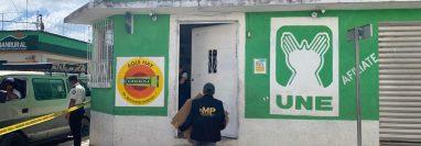 El Ministerio Público allanó la farmacia propiedad del padre del alcalde electo de Uspantán, Víctor Hugo Figueroa y del diputado electo por Quiché, Herbert Figueroa. (Foto Prensa Libre: cortesía MP)
