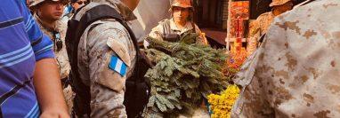 Agentes de la PNC resguardan las ramillas de pinabete decomisadas en el mercado San Nicolás en Retalhuleu. (Foto Prensa Libre: Rolando Miranda)