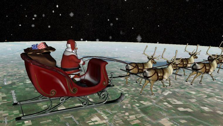 Santa Claus recorre el mundo para entregar regalos en Nochebuena. (Foto Prensa Libre: Captura de pantalla)