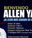 El defensa Allen Yanes firmó con Comunicaciones FC para el próximo torneo. (Foto Prensa Libre: Comunicaciones FC)