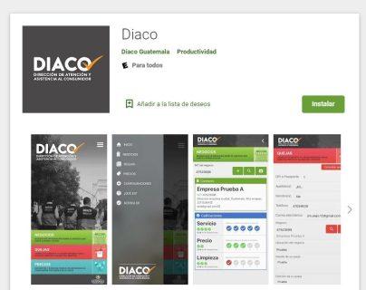 La aplicación ya está disponible para Android y se puede buscar como Diaco, mientras que para la plataforma IOS se espera que esté lista en las dos próximas semanas. (Foto Prensa Libre: Captura Play Store)