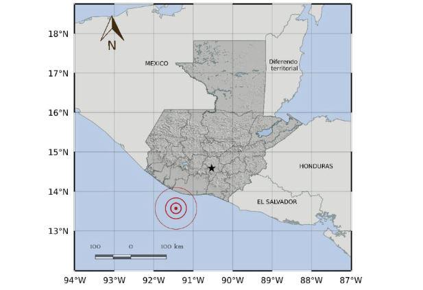 El epicentro del temblor fue a 35 kilómetros de las costas del Pacífico. (Foto Prensa Libre: Conred)