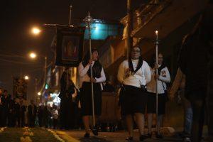 La iglesia La Recolección también lleva a cabo su rezado en honor a la Virgen de la Concepción. Foto Prensa Libre: Óscar Rivas