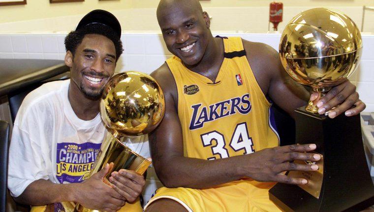 Kobe Bryant y Shaquille O'Neal celebraron juntos. (Foto Prensa Libre: Hemeroteca PL)