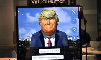 LAS VEGAS, NEVADA - JANUARY 08: An image of U.S. President Donald Trump is displayed as part of an artificial intelligence demonstration at the Saltlux booth during CES 2020 at the Las Vegas Convention Center on January 8, 2020 in Las Vegas, Nevada. CES, the world's largest annual consumer technology trade show, runs through January 10 and features about 4,500 exhibitors showing off their latest products and services to more than 170,000 attendees.   David Becker/Getty Images/AFP == FOR NEWSPAPERS, INTERNET, TELCOS & TELEVISION USE ONLY ==