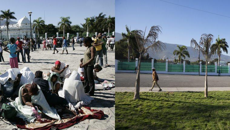 En la imagen, personas que buscan refugio el 13 de enero de 2010 en una plaza frente al Palacio Presidencial, diez años después, en el mismo lugar, las cosas no han cambiado mucho en Puerto Príncipe, Haití. (Foto Prensa Libre: EFE)