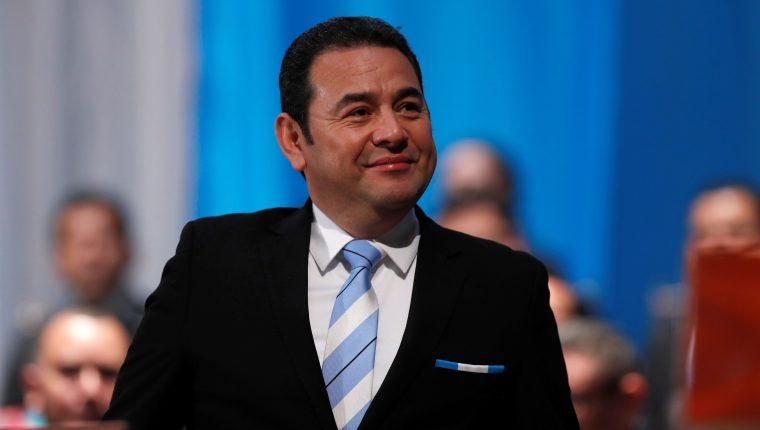 Jimmy Morales, asiste a la investidura del nuevo presidente, Alejandro Giammattei, el martes 14 de enero de 2020. (Foto Prensa Libre: HemerotecaPL)
