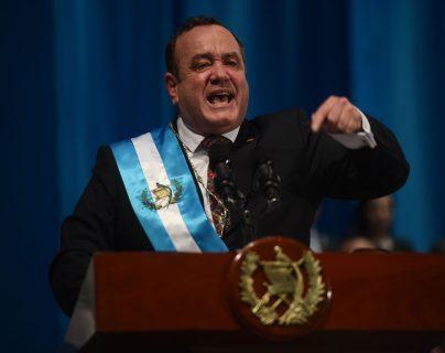 El presidente Alejandro Giammattei, durante el discurso luego de asumir la Presidencia. (Foto Prensa Libre. Hemeroteca PL)