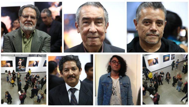 En la imagen se observa en la primera fila a Manolo Gallardo, Ernesto Boesche y Marvin Olivares. Abajo, las fotografías de Byron Rodas y Samuel Escobar, cinco talentos del arte guatemalteco. (Fotos Prensa Libre: Carlos Hernández).