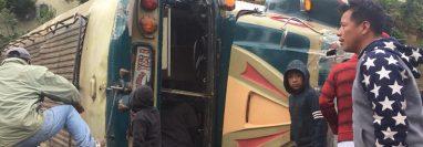Autobús de la empresa Esmeralda vuelva en Palestina de Los Altos, Quetzaltenango. (Foto Prensa Libre: CBMD)