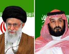 El ayatolá Ali Jamenei, líder de Irán, y el príncipe Mohammed bin Salman, príncipe heredero de Arabia Saudí. GETTY IMAGES