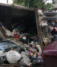 Accidente de tránsito registrado en la zona 8 de Villa Nueva. (Foto Prensa Libre: Dalia Santos).